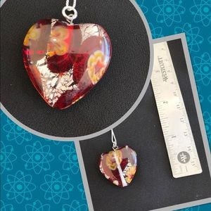 .925 Sterling glass heart necklace