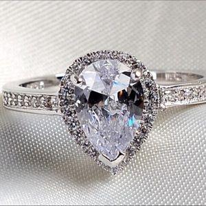 Genuine Swarovski Crystal Pear Shaped Ring Size 8