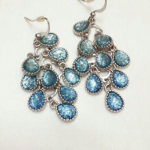 Vintage Sky Blue Chandelier Earrjngs