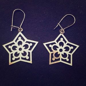 Snowflake Earrings Sterling Silver Dangle