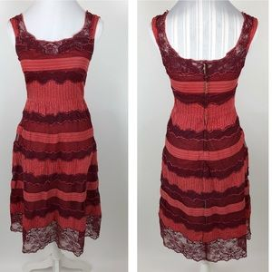 Anthropologie Lithe Red Tiered Lace Dress Size 2