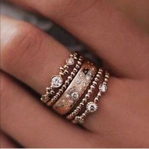 NEW Rose Gold Crystal Stackable ring set