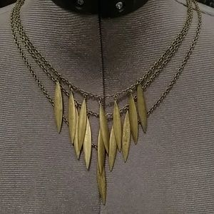 Triple strand organic metal necklace