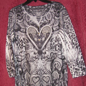 Style & Co. V-Neck Shirt with Studs Hearts Size M