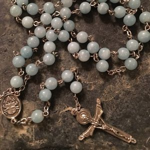 Rosary with light blue beads