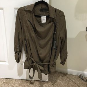 Army green motorcycle type jacket. NWT.