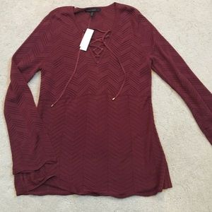 NWT WHBM lace up sweater tunic