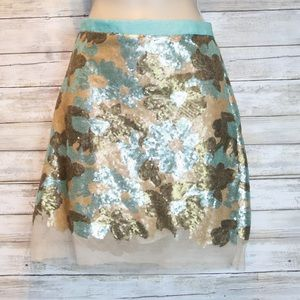 Eva Franco multicolor sequin skirt sz 4