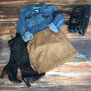 Loft gold sequin mini skirt