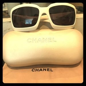 Chanel Mother of Pearl White Sunglasses Like New