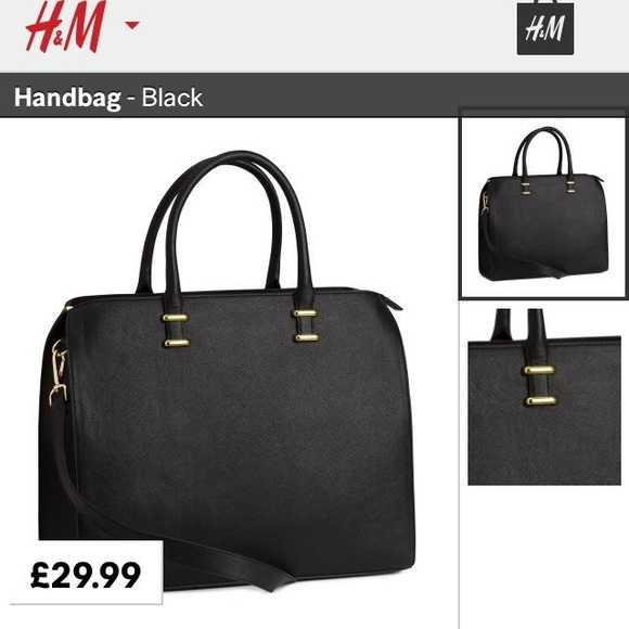 H M Bags   Hm Black Tote Bag With Gold Metal Straps   Poshmark 73b19211b2
