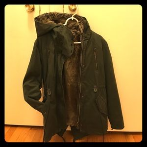 Forever 21 fur lined jacket. Military/Utility