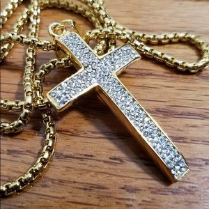 Other - Gold Iced Out Cross Pendant Chain Mens Jewelry New