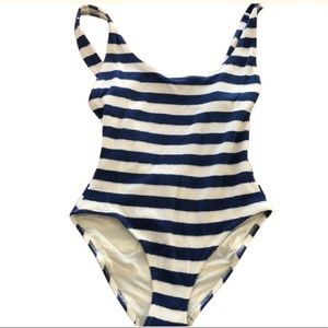 Blue &White Striped Terry-Cloth  One-Piece