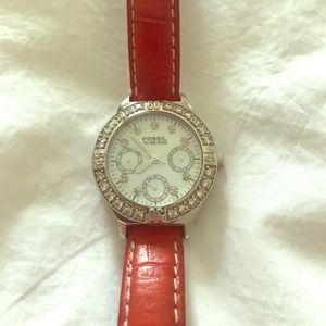 Red Leather Strap FOSSIL Watch