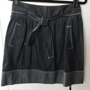 Ann Taylor LOFT flared dark chambray skirt NWT