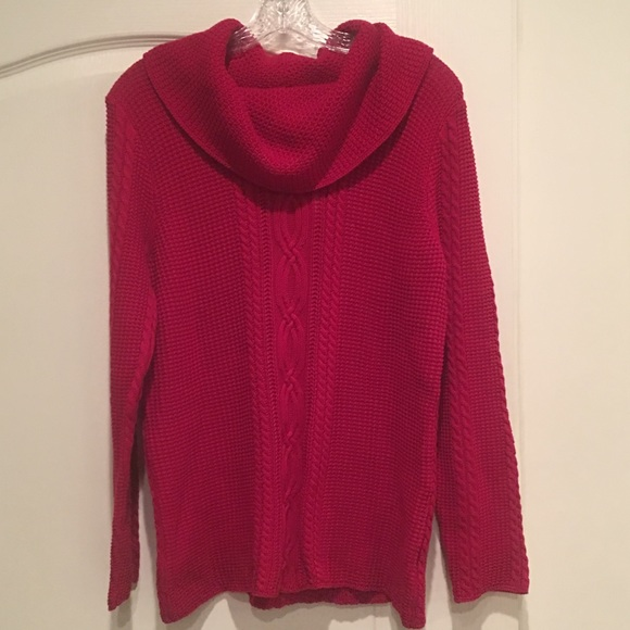 76c774f997 Jean Pierre Sweaters | Nwt Red Cable Knit Cowl Neck Sweater | Poshmark