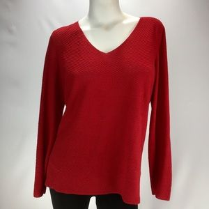EILEEN FISHER Red Linen/Silk Lightweight Sweater!