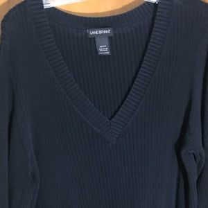 Lane Bryant black V-neck sweater in size 22/24