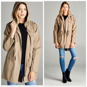 Khaki Hooded Utility Jacket S M L