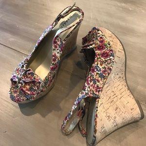Madden Girl peep toe cork wedge