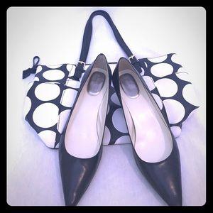 Calvin Klein Black Leather Kitten Heels