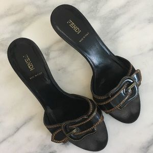 Fendi Black Slip On Heels Size 8