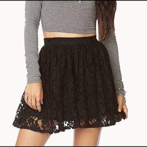 Forever 21 black lace skater skirt