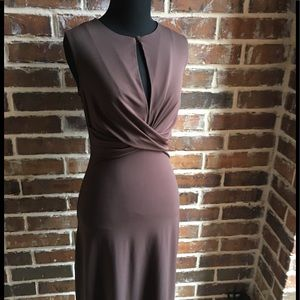 3-Quarter Length Brown Sleeveless Dress