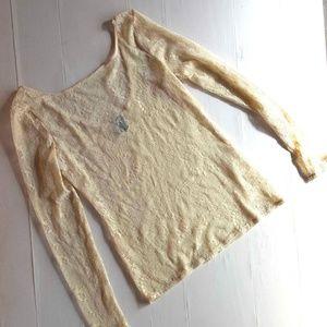Ella Moss Long Sleeve Top sheer Cream Lace L large