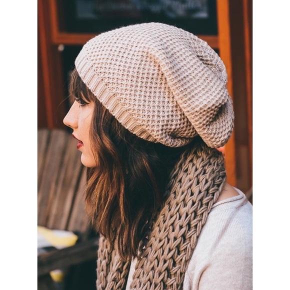 a17a28dd1af Oatmeal Waffle Knit Slouch Beanie Hat