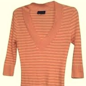 Cotton candy pink and white striped V-neck Sweater