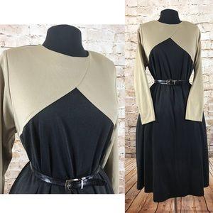Tan and black stretch dress