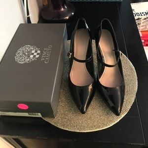 Vince Camuto Black and Gold Heel Shoe