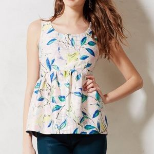 Anthropologie Leifsdottir Bird Brocade Peplum Top