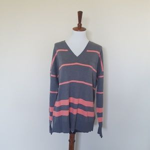 GAP Long Sleeve Striped V Neck Sweater