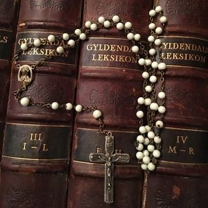 Antique White Moonstone Glass Beads Rosary
