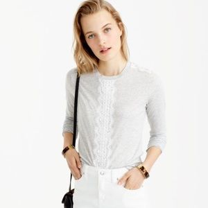 J. Crew Lacy Tee Tshirt Long Sleeved Crew Neck