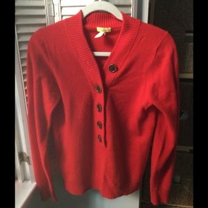 J. Crew red cashmere Henley sweater, M