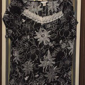 Black & White short sleeve sequin top