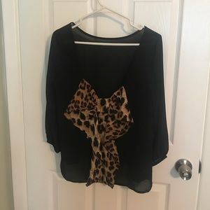 Leopard Bow Top