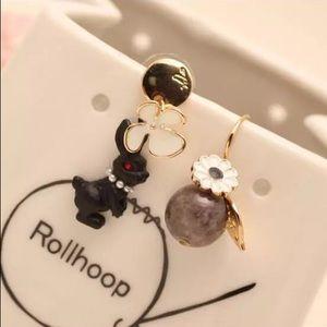 Creative Cute Black Bunny Flower beads earrings