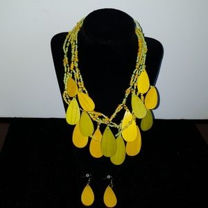 Beaded and wooded necklace and earring set
