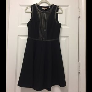 Rebecca Taylor- sleeveless dress with leather- 10
