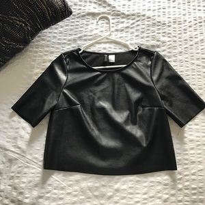 H&M faux leather crop top