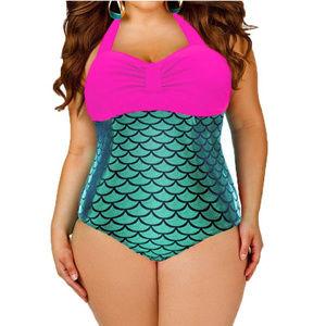 Trendy Pink Metallic One Piece Mermaid Swimsuit