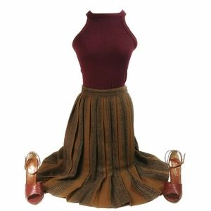 *Vintage* 1960's Pleated Wool High Waisted Skirt