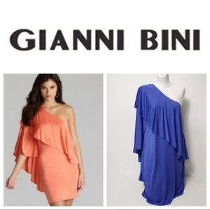 Gianni Bini One Shoulder Cocktail Dress Blue Med.