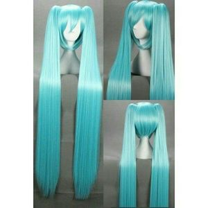 Long blue Miku cosplay wig