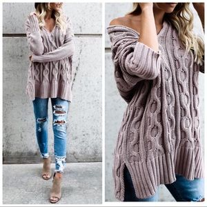 Mauve Cable Knit V Neck Oversized Sweater S/M M/L